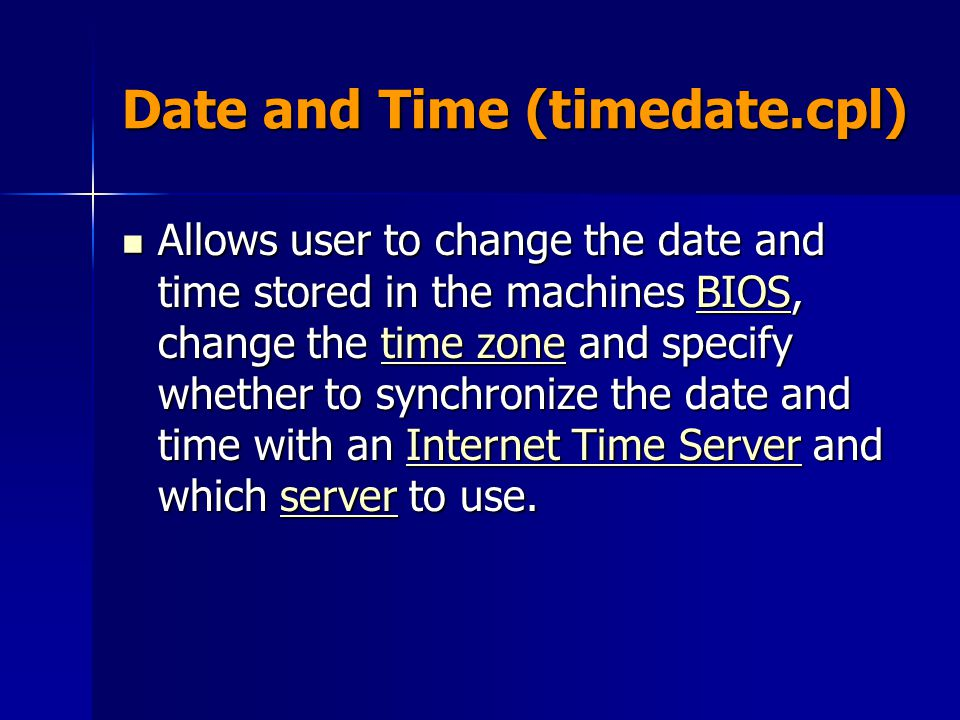 Date and Time (timedate.cpl)