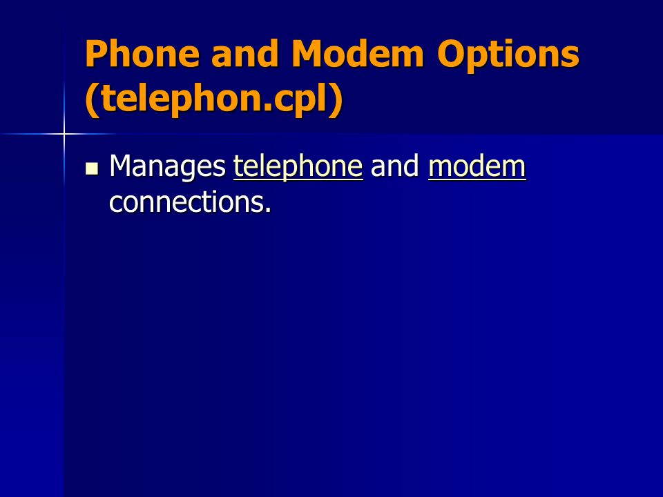 Phone and Modem Options (telephon.cpl)
