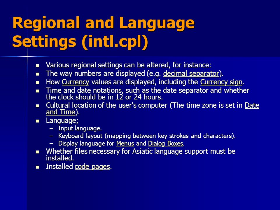 Regional and Language Settings (intl.cpl)