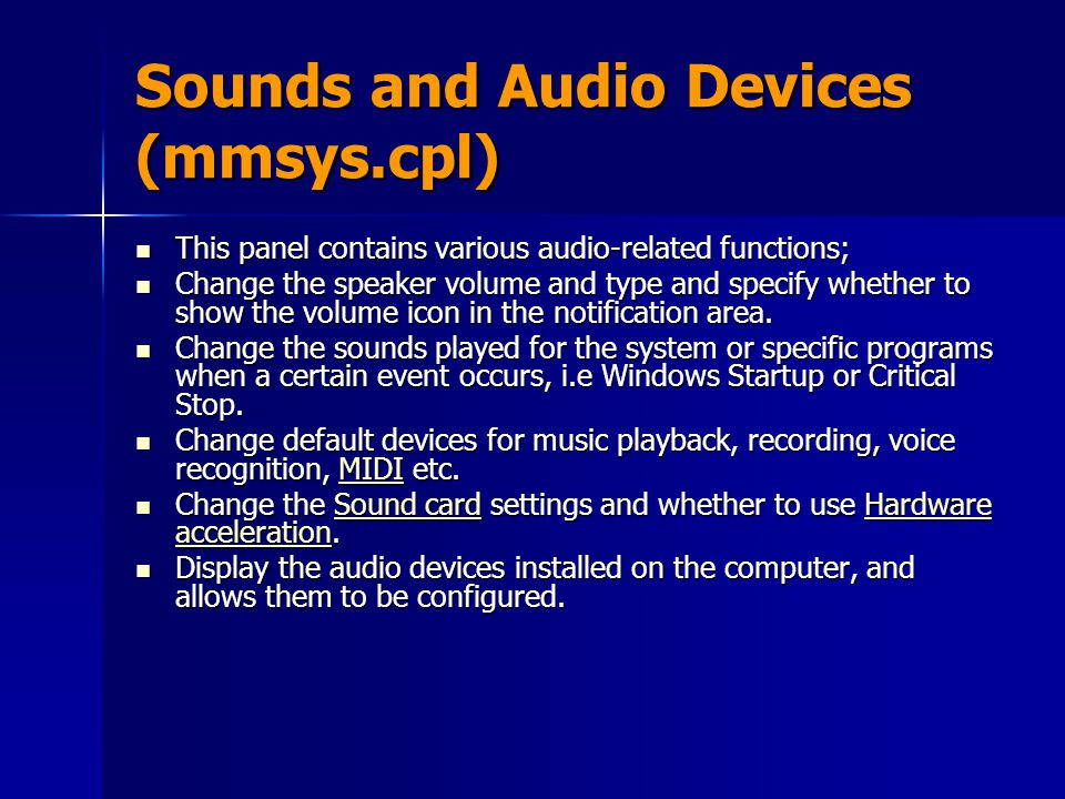 Sounds and Audio Devices (mmsys.cpl)