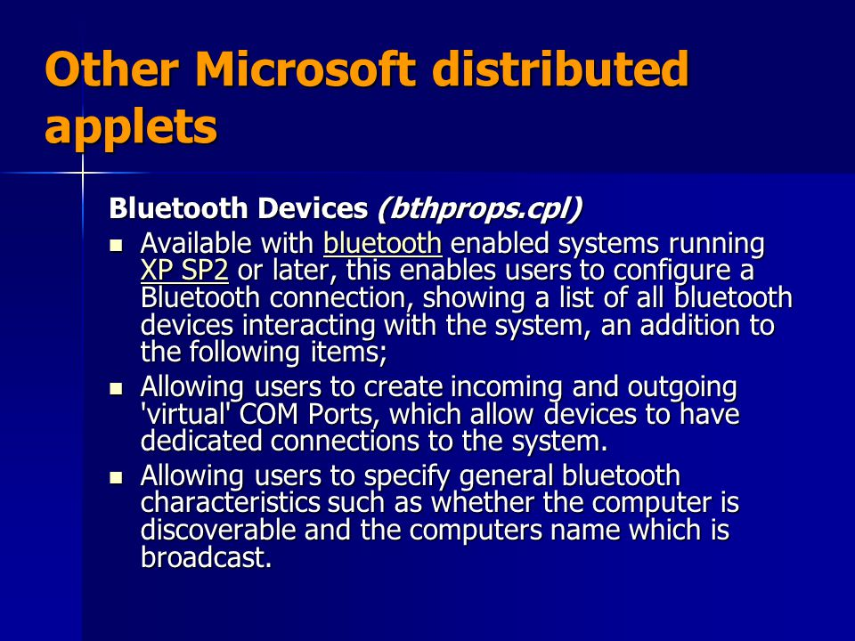 Other Microsoft distributed applets