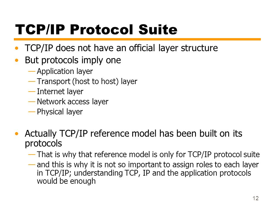 TCP/IP Protocol Suite TCP/IP does not have an official layer structure