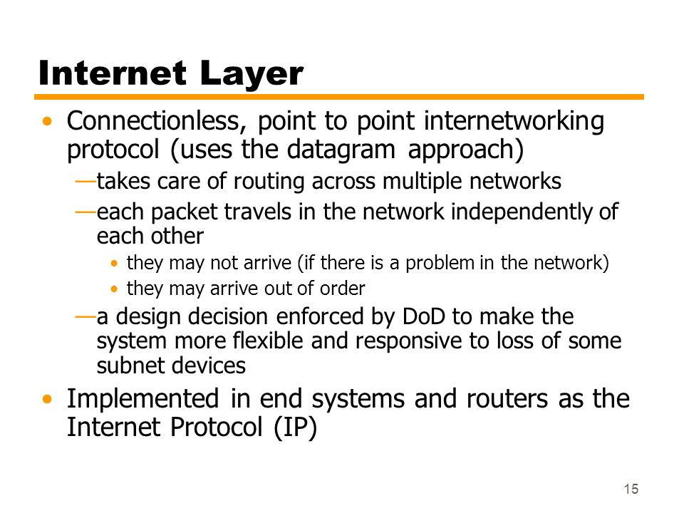 Internet LayerConnectionless, point to point internetworking protocol (uses the datagram approach) takes care of routing across multiple networks.