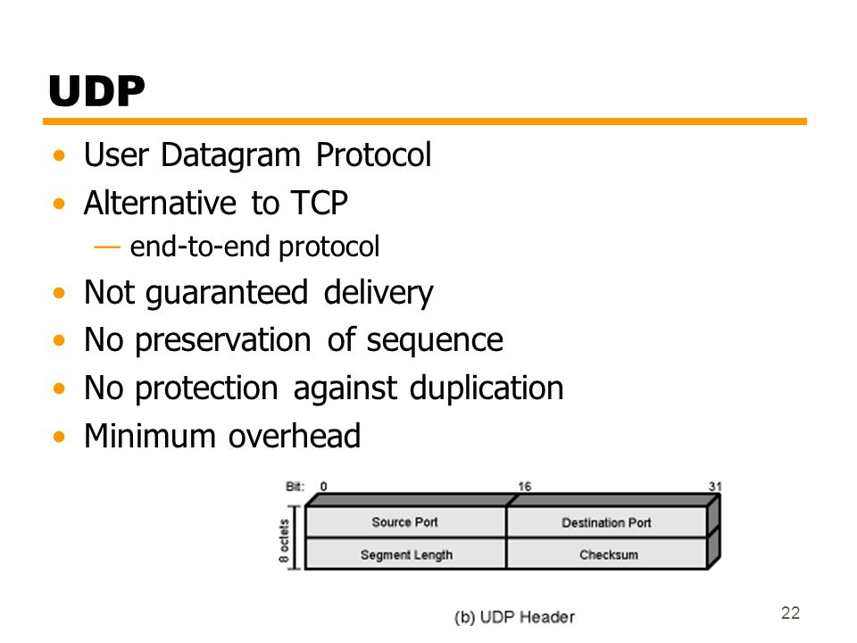 UDP User Datagram Protocol Alternative to TCP Not guaranteed delivery