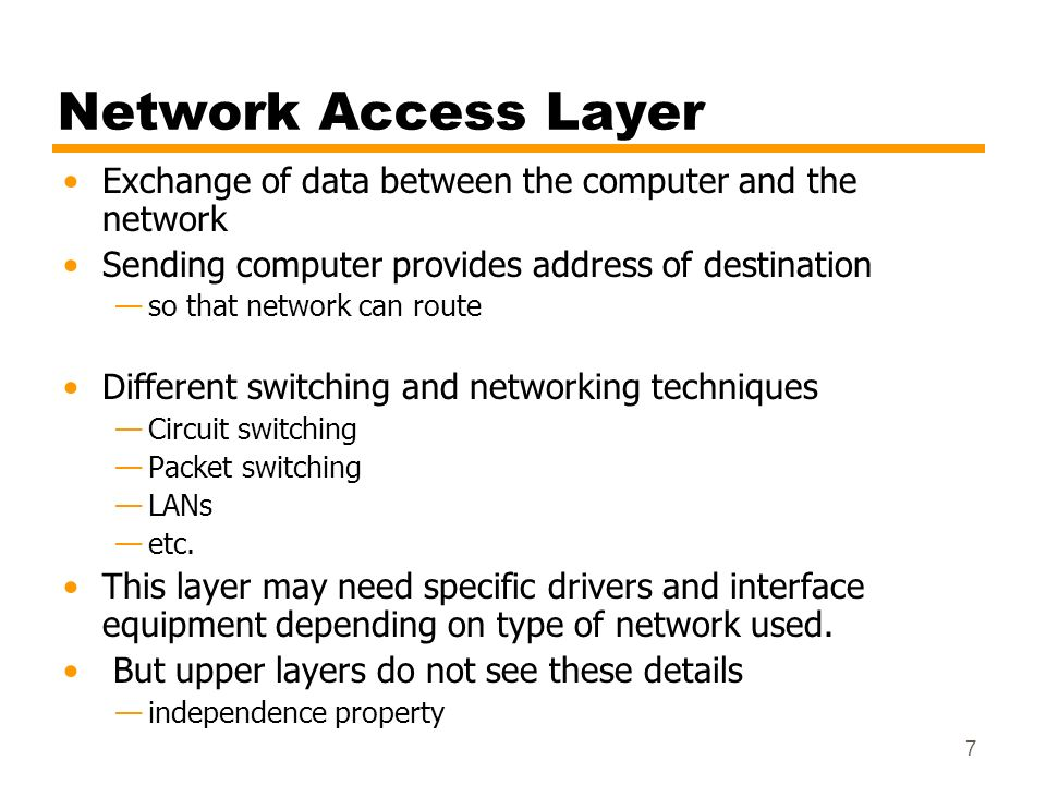 Network Access Layer Exchange of data between the computer and the network. Sending computer provides address of destination.