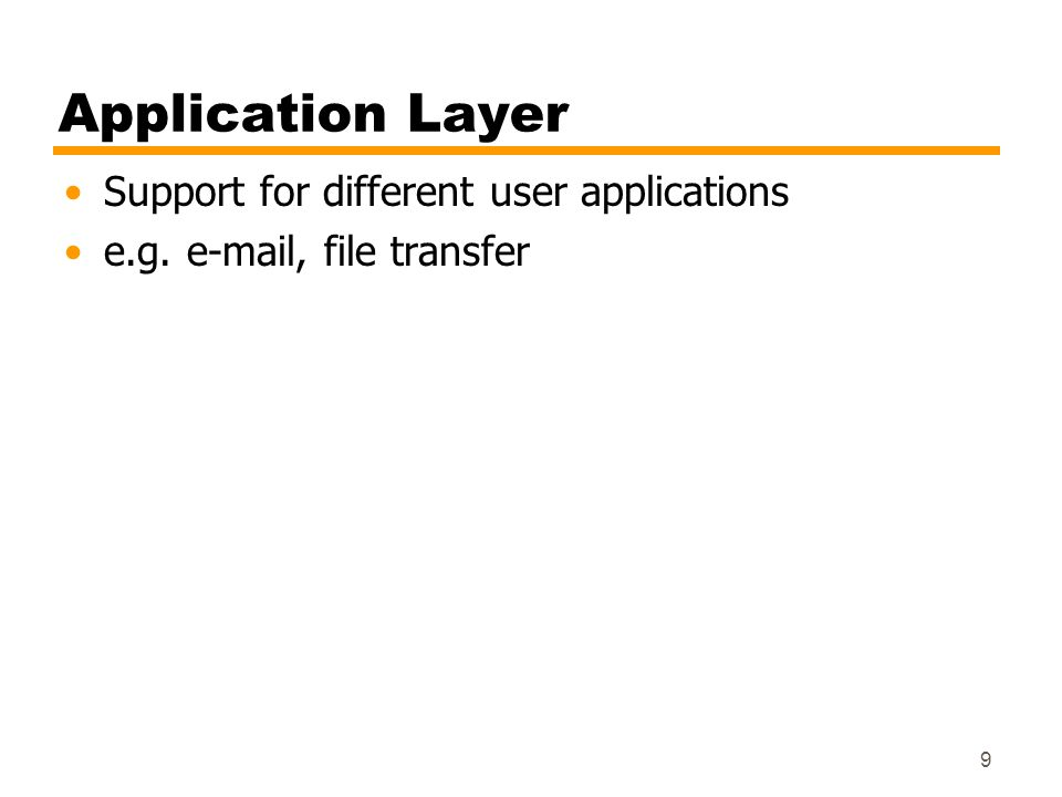 Application Layer Support for different user applications