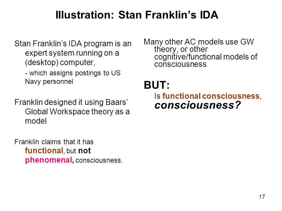 Illustration: Stan Franklin's IDA