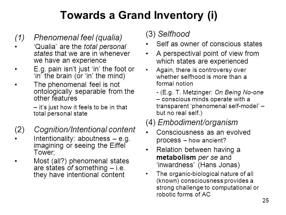 Towards a Grand Inventory (i)
