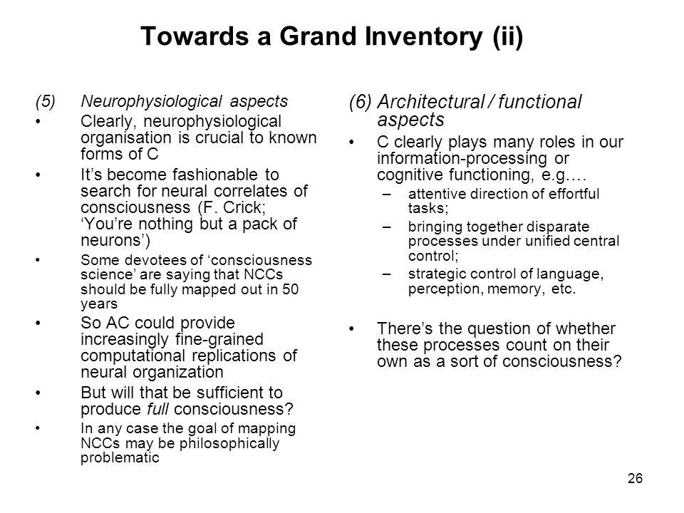 Towards a Grand Inventory (ii)