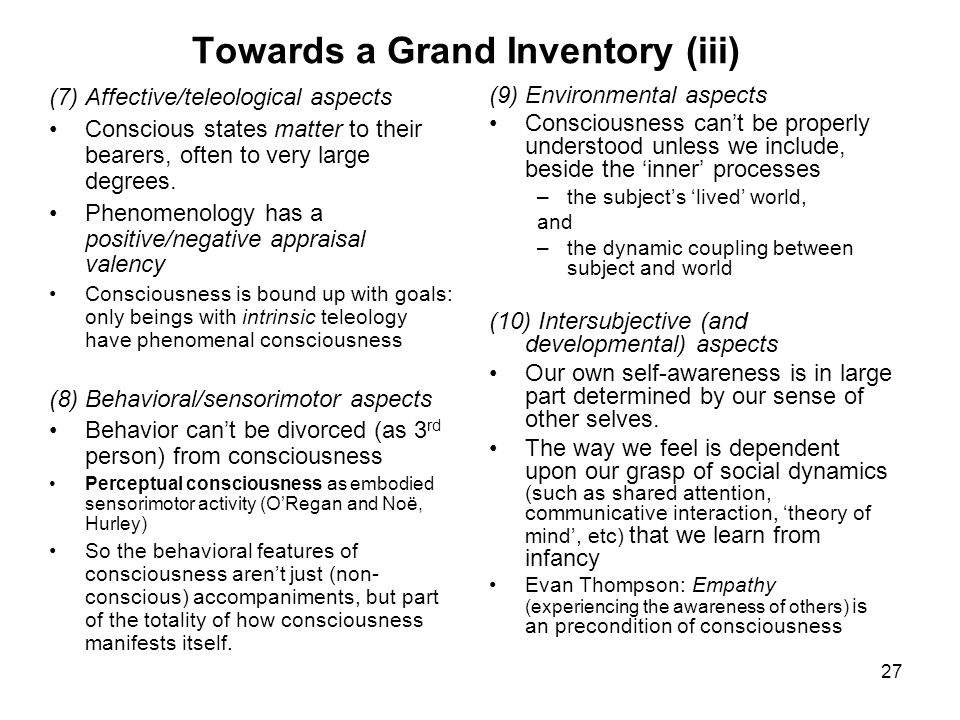 Towards a Grand Inventory (iii)