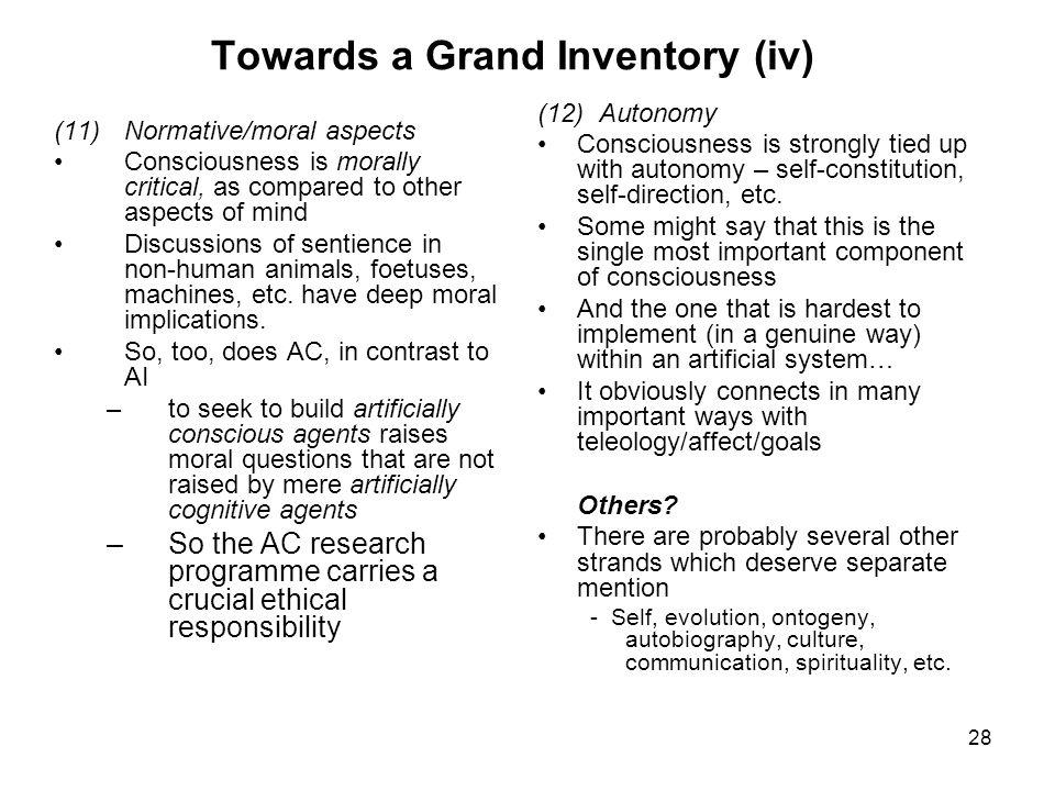 Towards a Grand Inventory (iv)