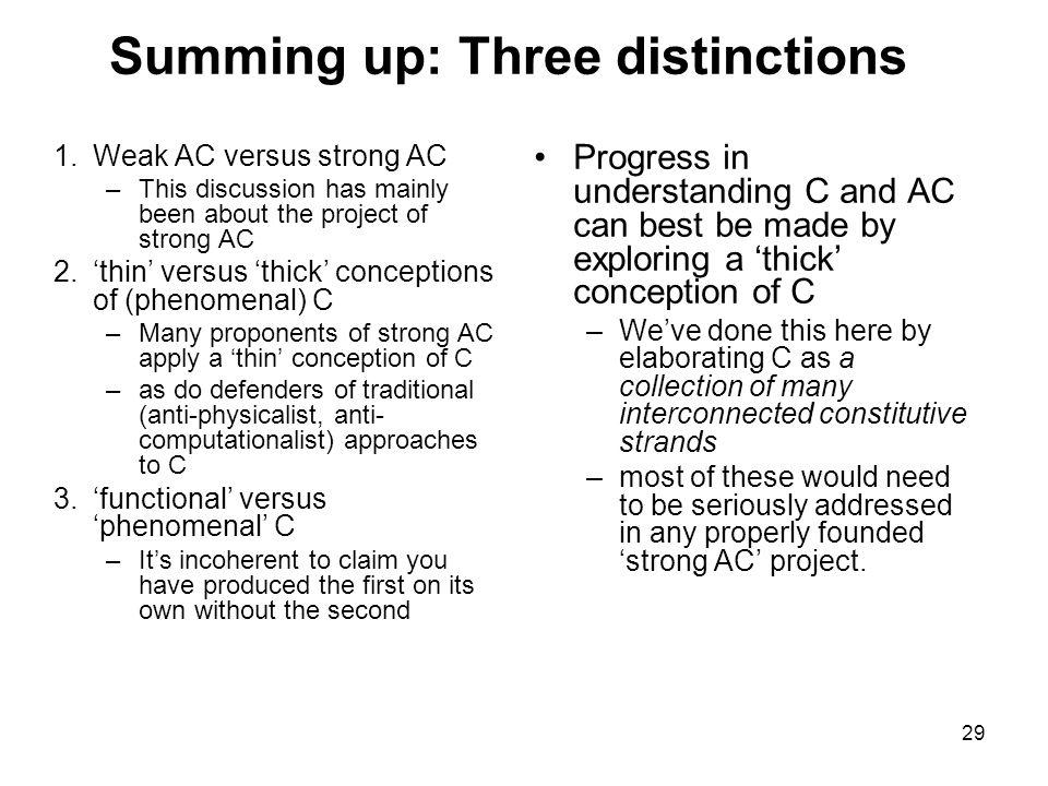 Summing up: Three distinctions