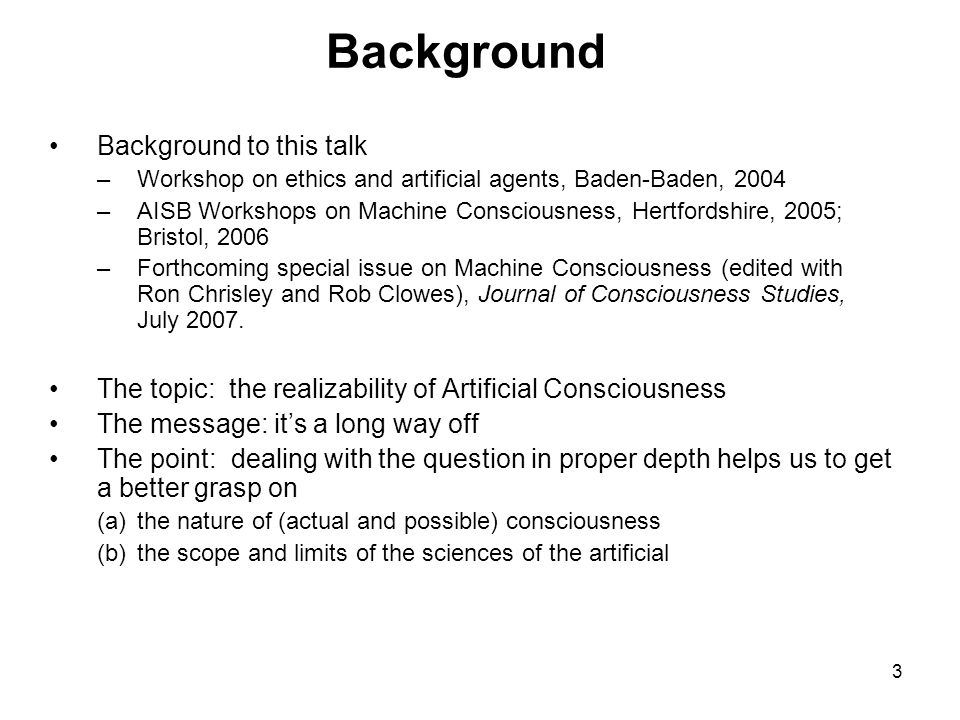Background Background to this talk