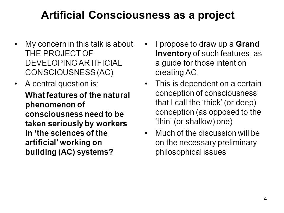 Artificial Consciousness as a project