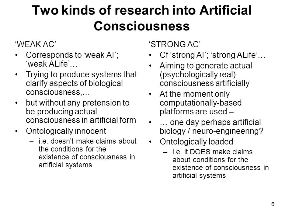 Two kinds of research into Artificial Consciousness