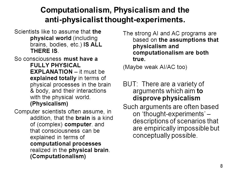 Computationalism, Physicalism and the anti-physicalist thought-experiments.