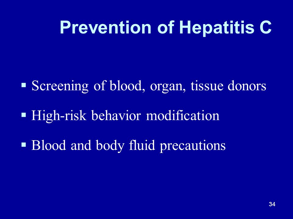 Prevention of Hepatitis C