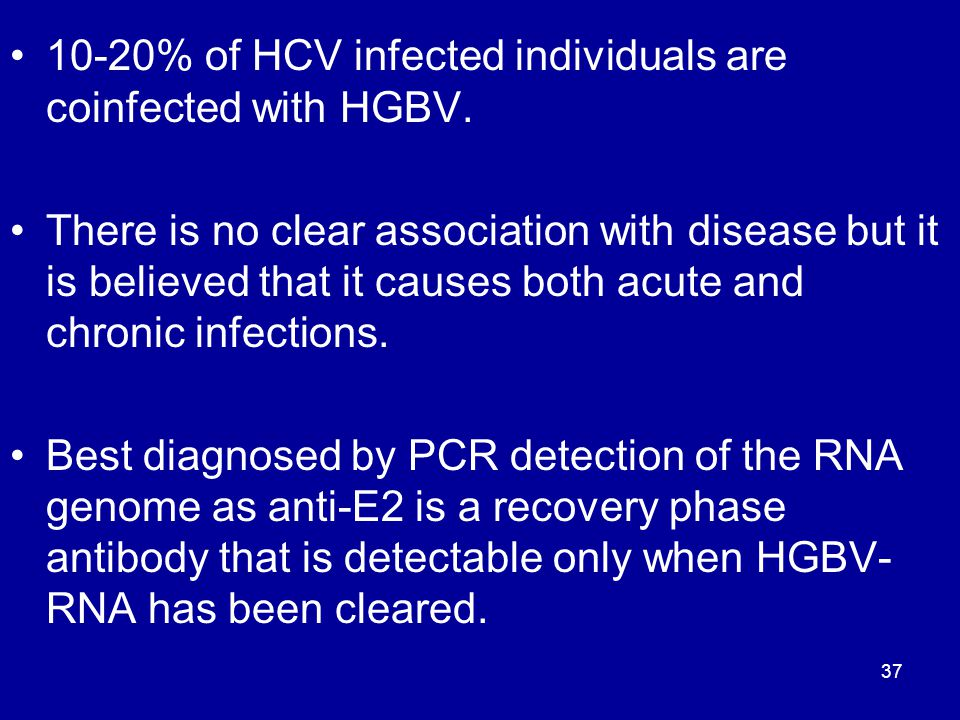 10-20% of HCV infected individuals are coinfected with HGBV.
