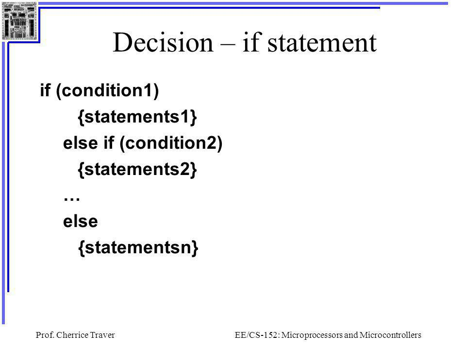 Decision – if statement