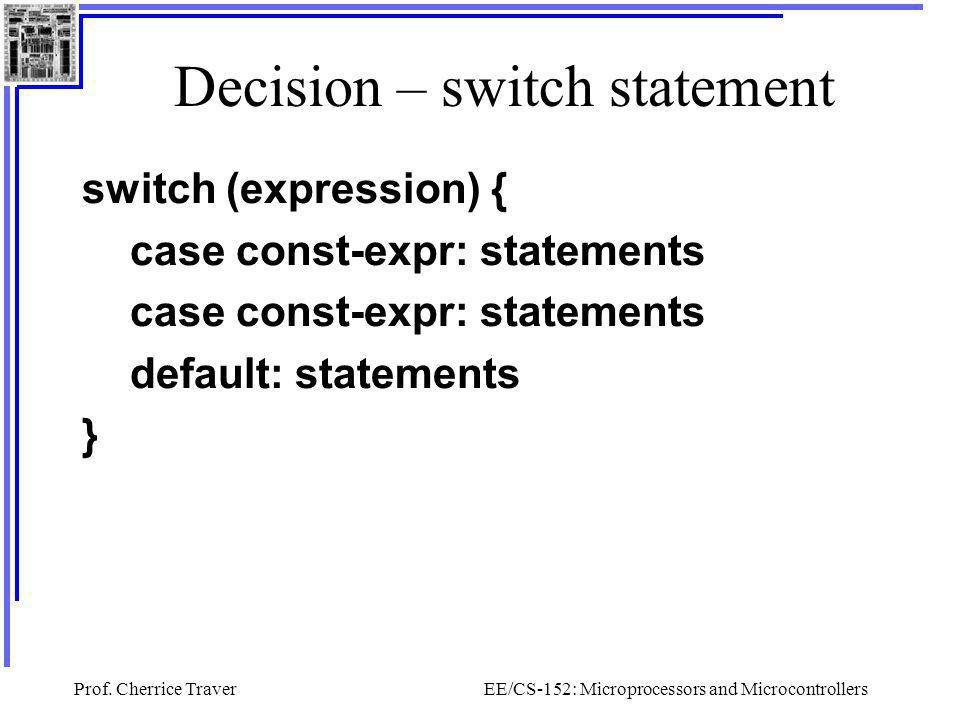 Decision – switch statement