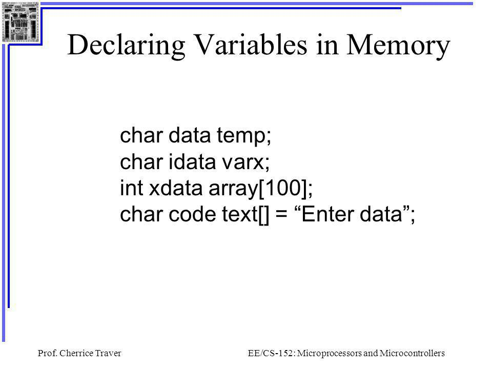 Declaring Variables in Memory