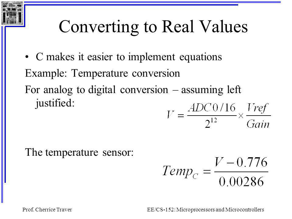 Converting to Real Values