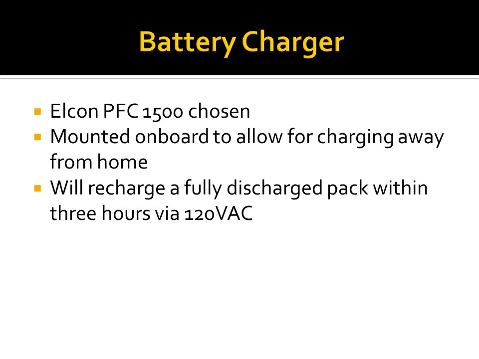 Battery Charger Elcon PFC 1500 chosen