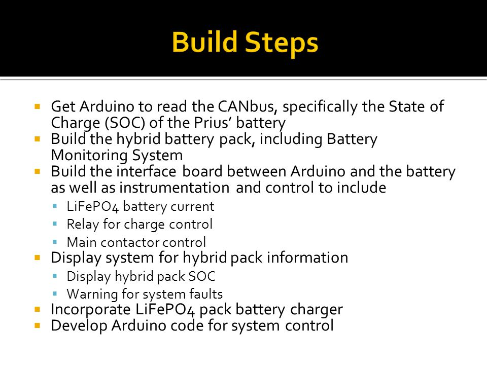 Build Steps Get Arduino to read the CANbus, specifically the State of Charge (SOC) of the Prius' battery.