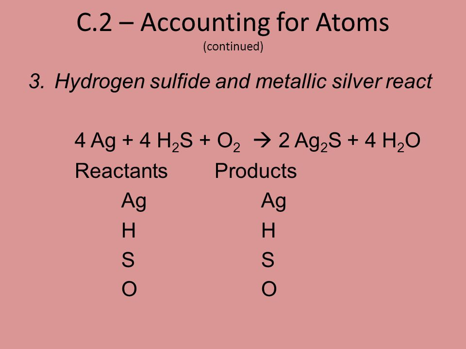 C.2 – Accounting for Atoms (continued)