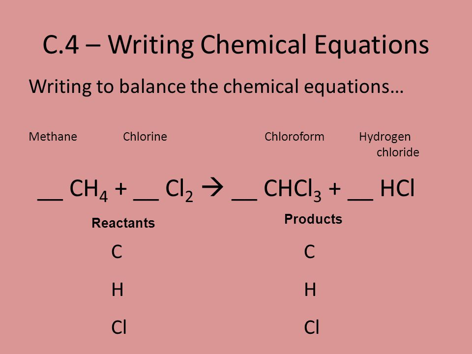 C.4 – Writing Chemical Equations