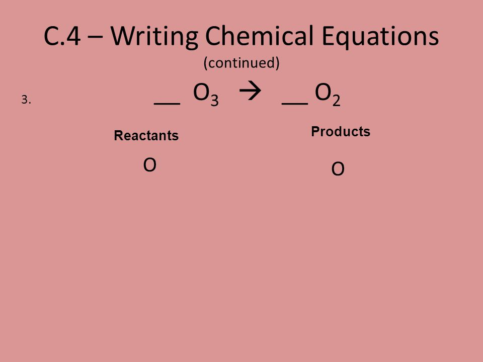 C.4 – Writing Chemical Equations (continued)