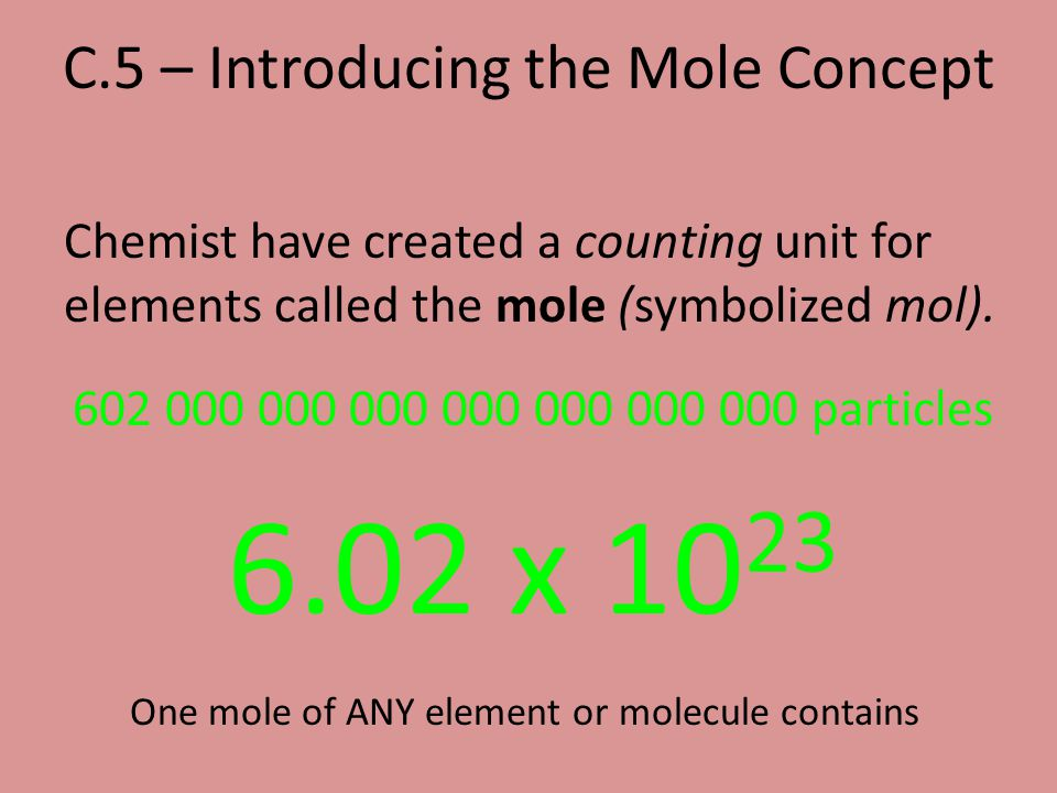 C.5 – Introducing the Mole Concept