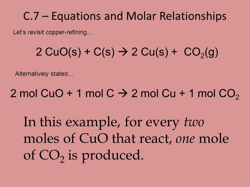 C.7 – Equations and Molar Relationships