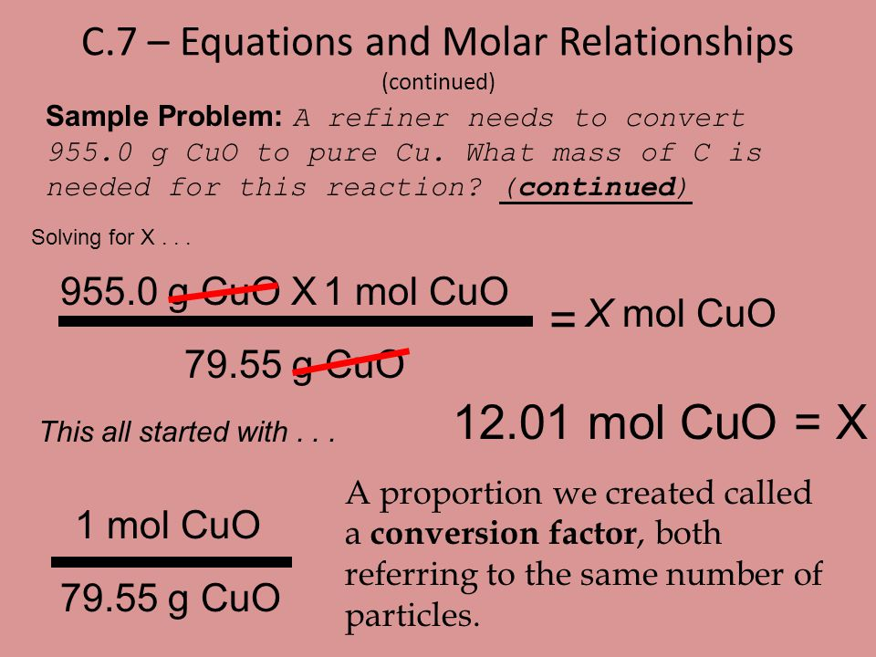 C.7 – Equations and Molar Relationships (continued)