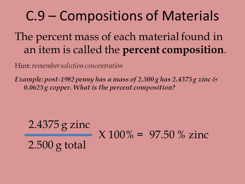 C.9 – Compositions of Materials