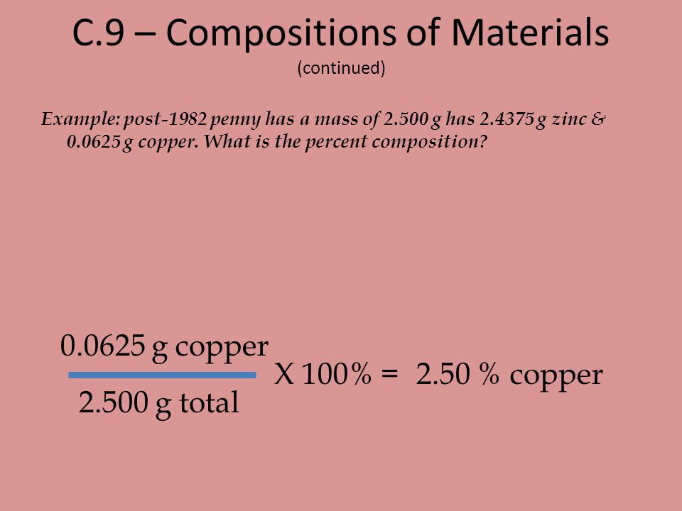 C.9 – Compositions of Materials (continued)