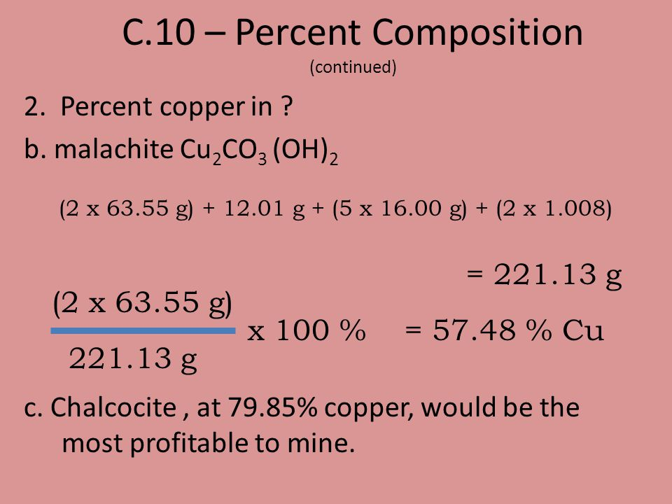 C.10 – Percent Composition (continued)