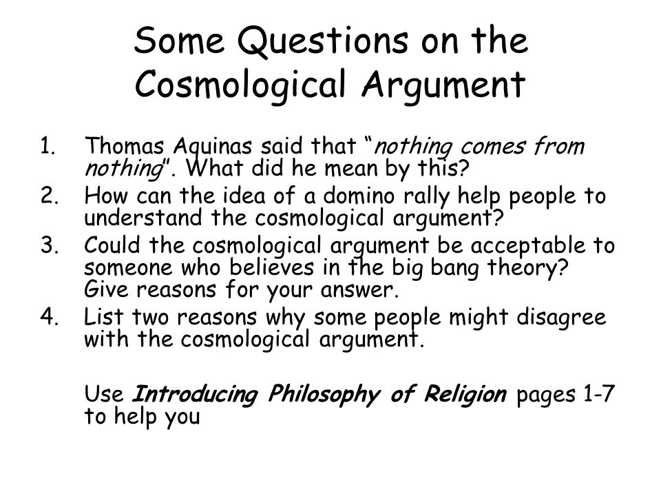 Some Questions on the Cosmological Argument