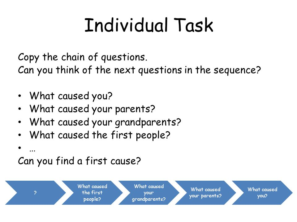 Individual Task Copy the chain of questions.