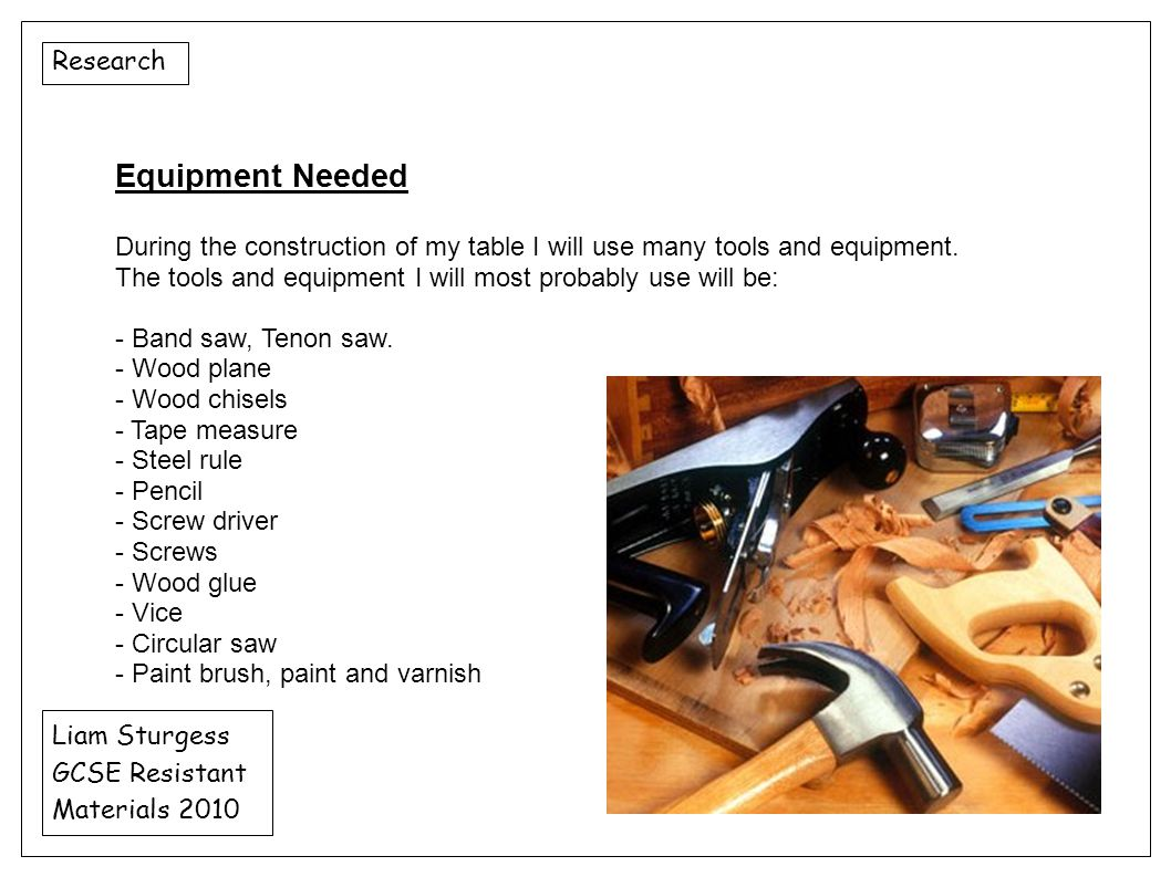 Equipment Needed Research