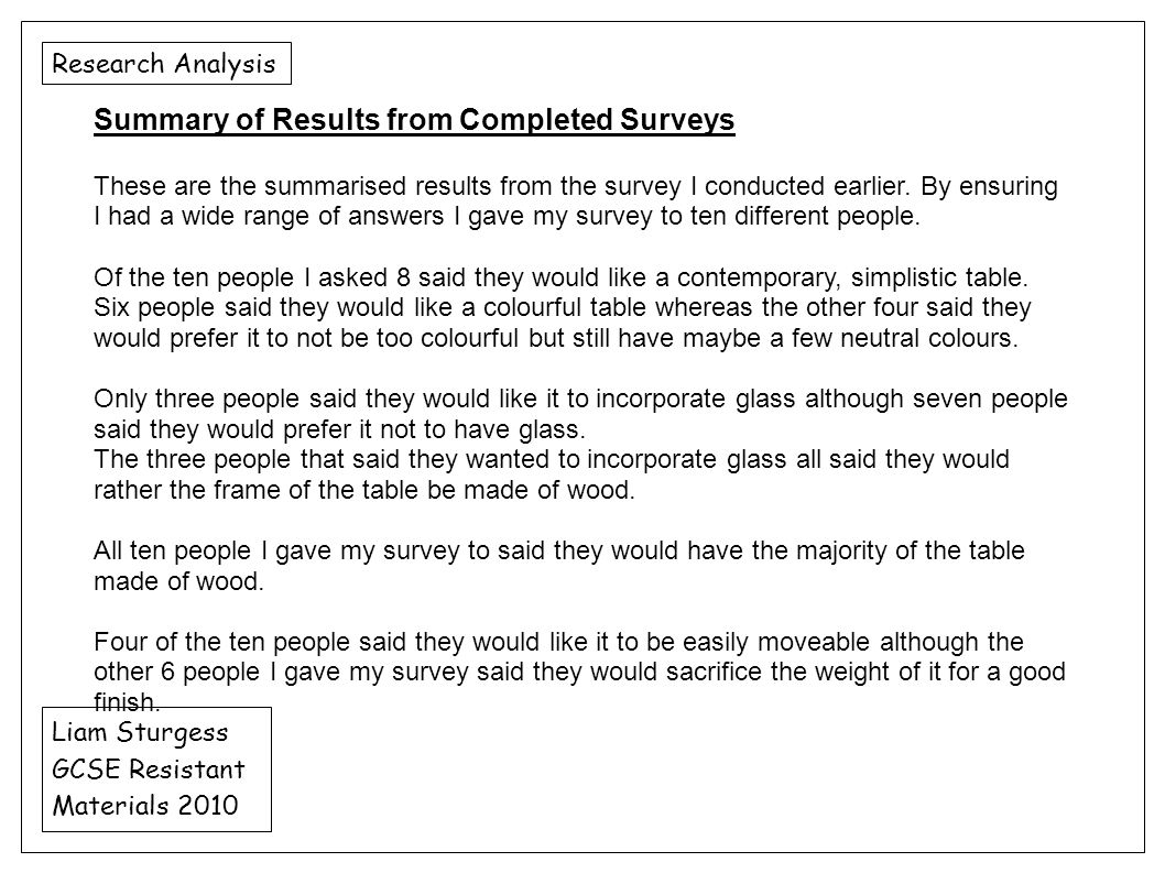 Summary of Results from Completed Surveys