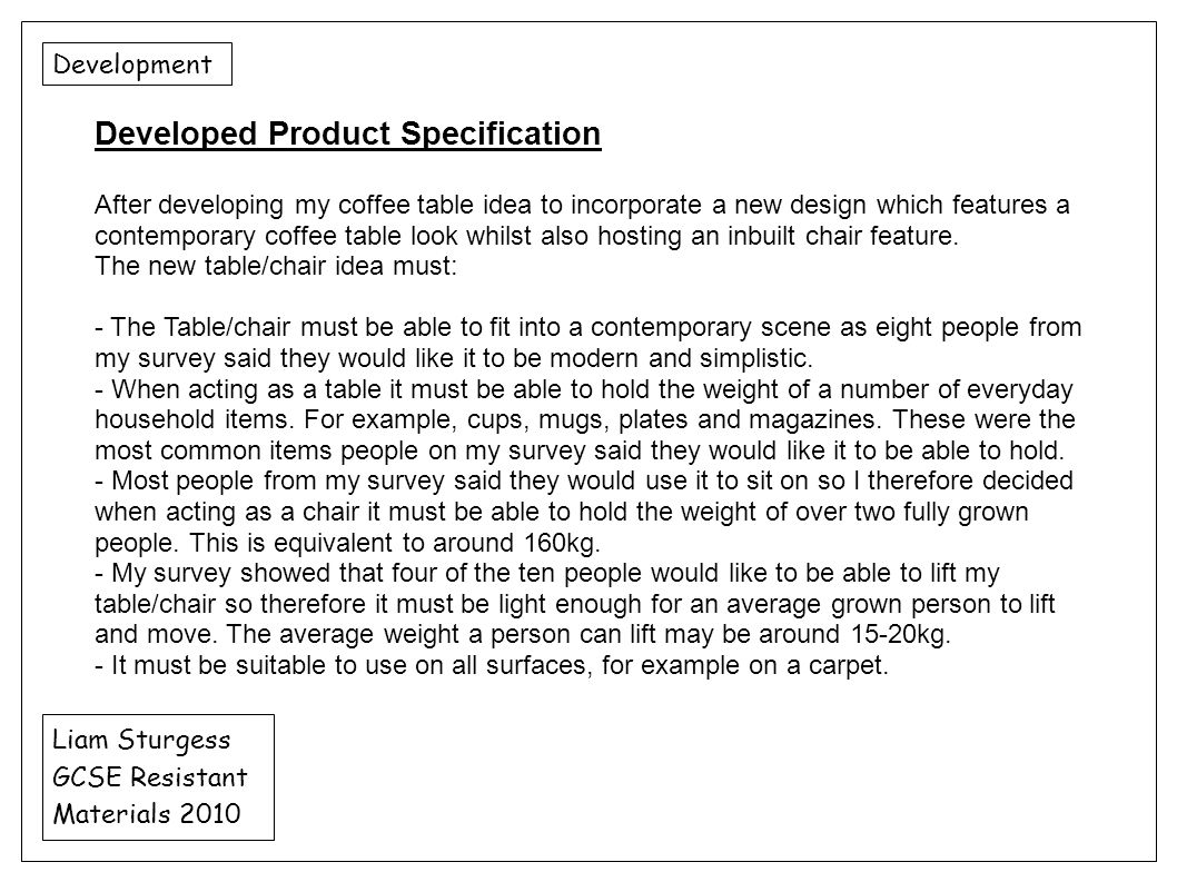 Developed Product Specification