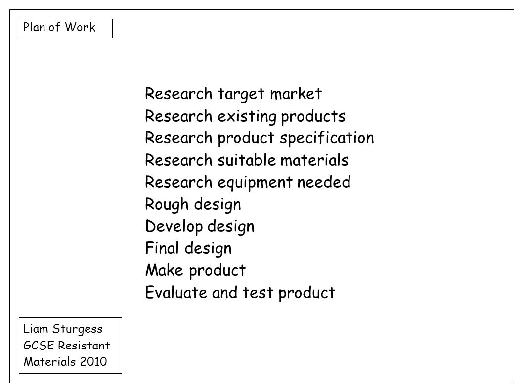 Research target market Research existing products