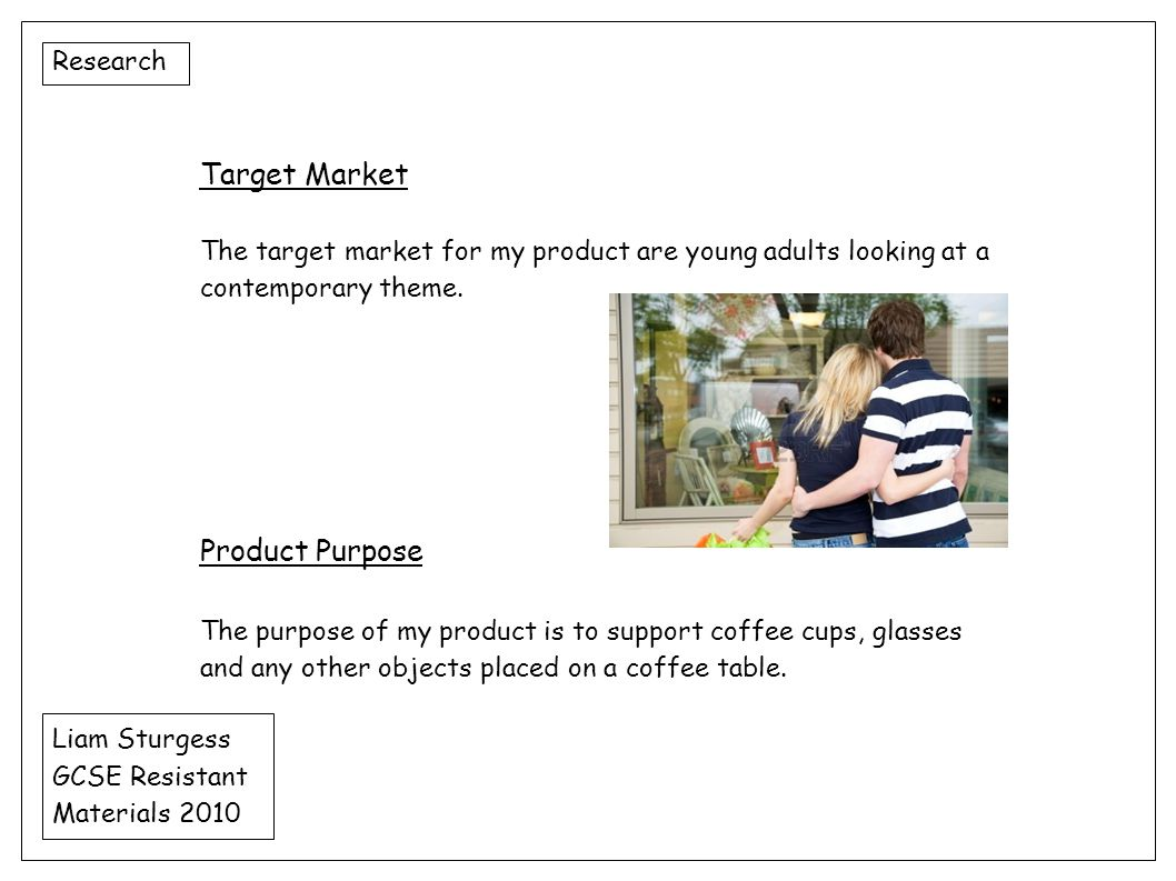 Target Market Product Purpose Research