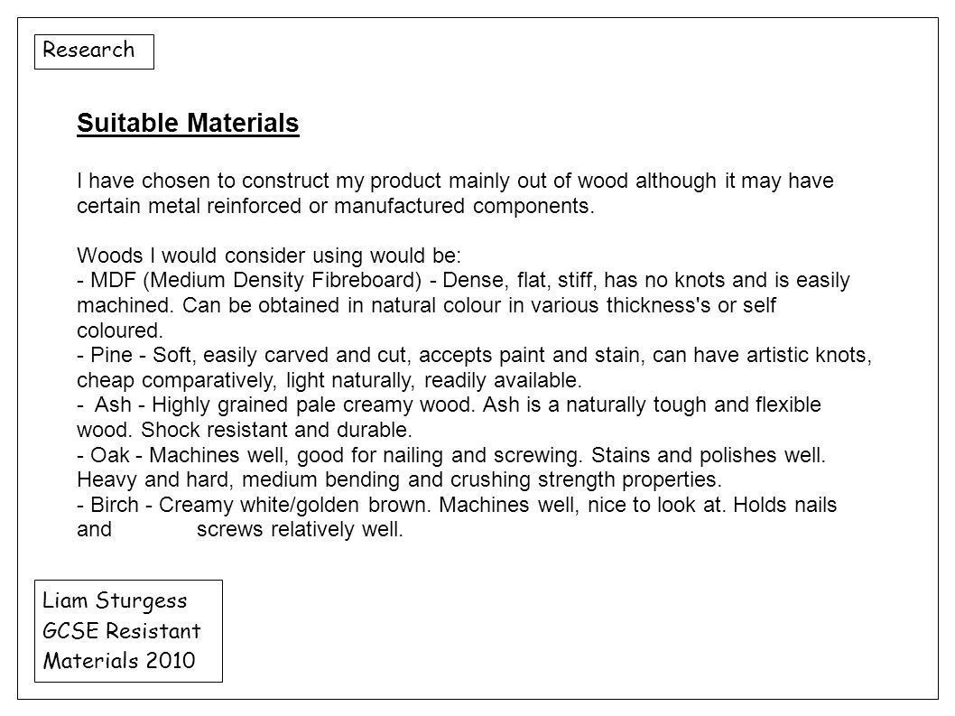 Suitable Materials Research
