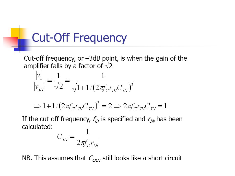 Cut-Off Frequency Cut-off frequency, or –3dB point, is when the gain of the amplifier falls by a factor of Ö2.