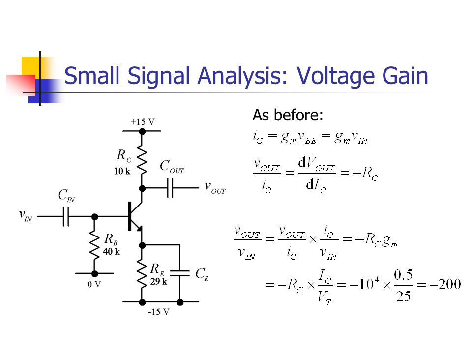 Small Signal Analysis: Voltage Gain