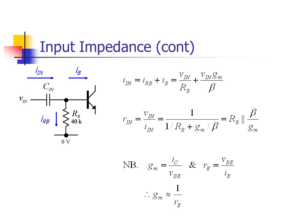 Input Impedance (cont)