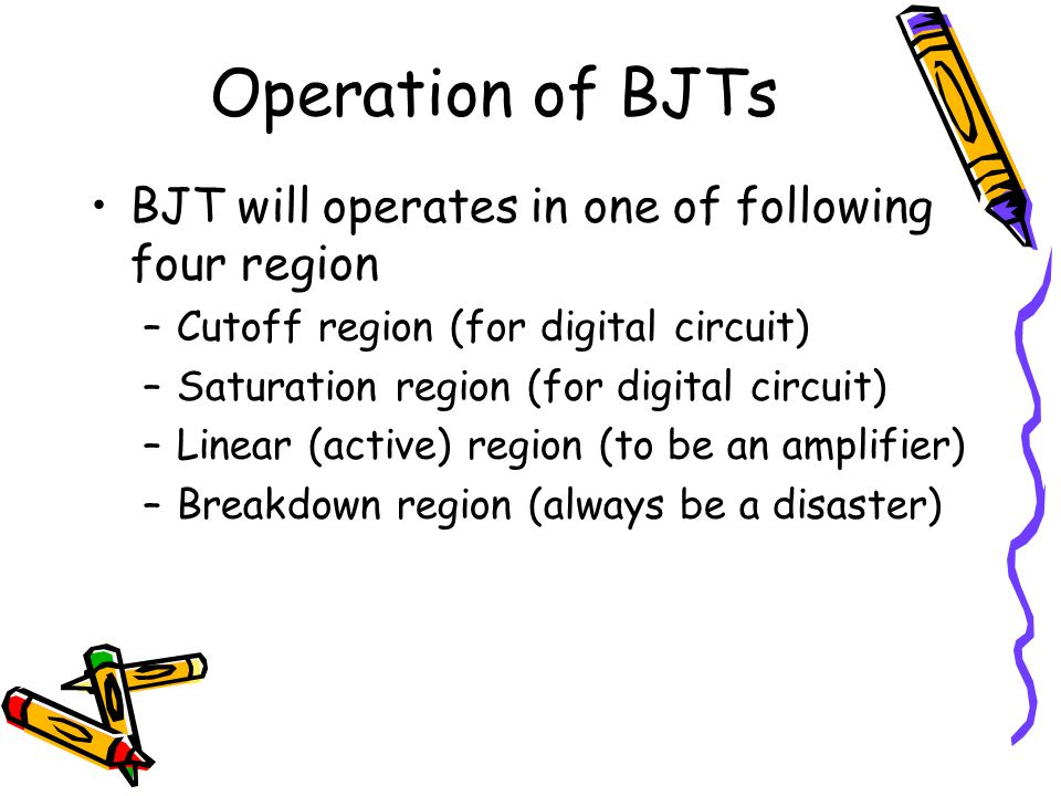 Operation of BJTs BJT will operates in one of following four region