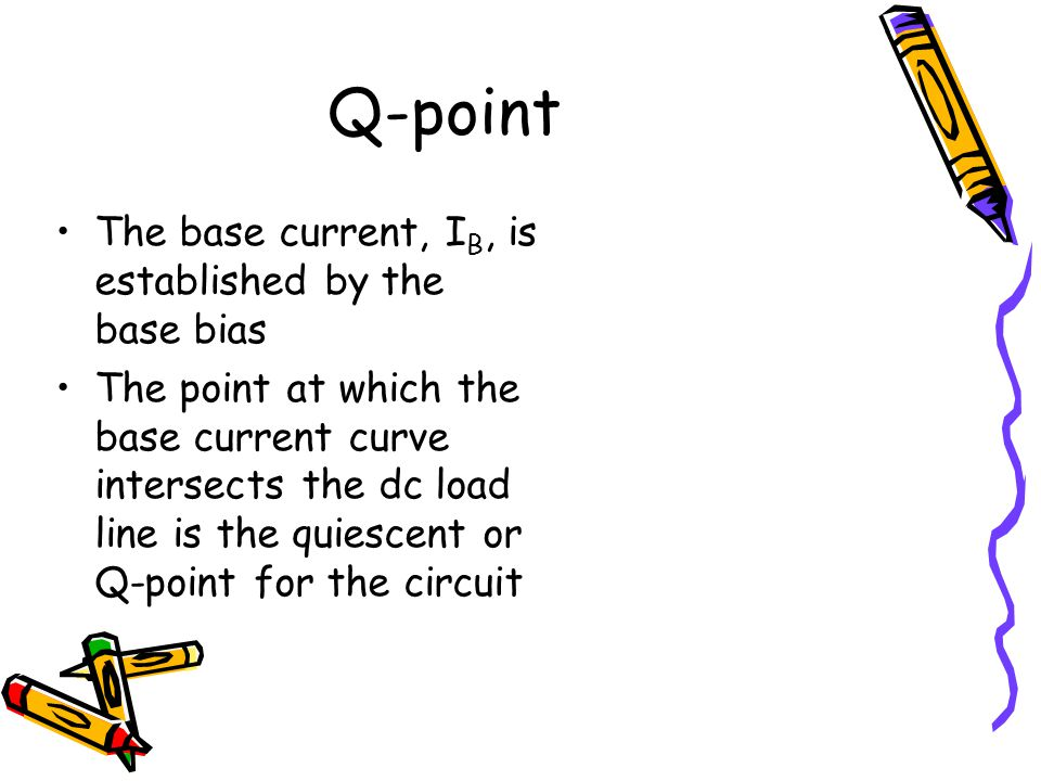 Q-point The base current, IB, is established by the base bias